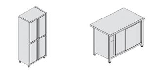 Zárt szekrények, asztalok
